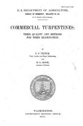 Commercial Turpentines: Their Quality and Methods for Their Examination