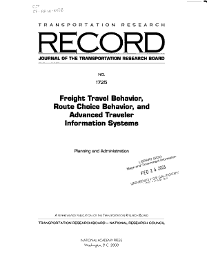 Freight Travel Behavior Route Choice Behavior And Advanced Traveler Information Systems