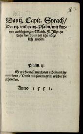 Das II. Capit. Syrach, der XII. und XCIIII. Psalm mit kurtzen Ausslegungen