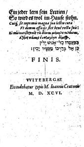 Catechesis D. Martini Lvtheri Minor. Germanice, Latine, Graece et Ebraice