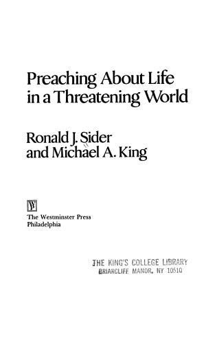 Preaching about Life in a Threatening World PDF