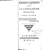 Observations sur la litterature moderne: Volume 2