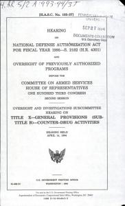 Hearing on National Defense Authorization Act for Fiscal Year 1995  S  2181  H R  4301  and Oversight of Previously Authorized Programs Before the Committee on Armed Services  House of Representatives  One Hundred Third Congress  Second Session PDF