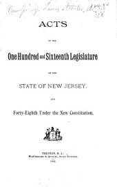 Acts of the General Assembly of the State of New Jersey