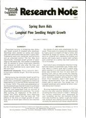 Spring burn aids longleaf pine seedling height growth