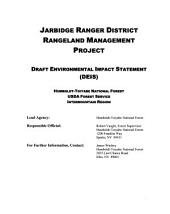 Humboldt-Toiyabe National Forest (N.F.), Jarbridge Ranger District, Rangeland Management Project: Environmental Impact Statement