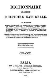 Dictionnaire classique d'histoire naturelle: Chi - Coz, Volume4