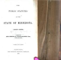 The Public Statutes of the State of Minnesota  1849 1858 PDF