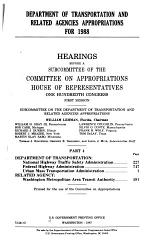 Department of Transportation and Related Agencies Appropriations for 1988