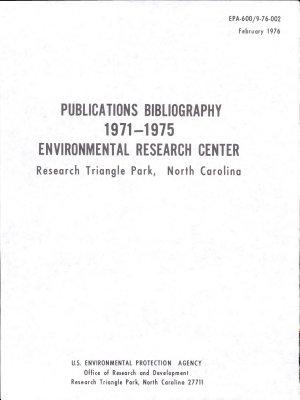 Publications Bibliography 1971 1975 Environmental Research Center PDF