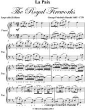 La Paix the Royal Fireworks Easy Piano Sheet Music