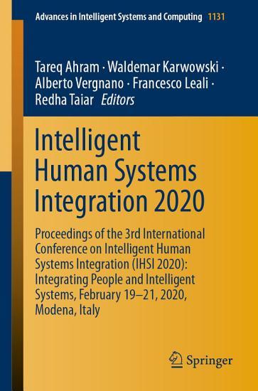 Intelligent Human Systems Integration 2020 PDF