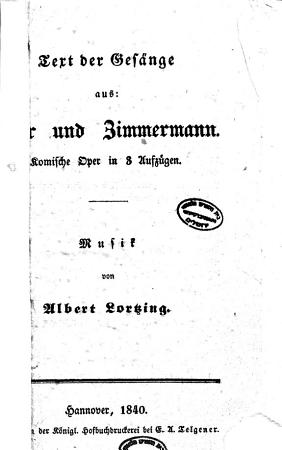 Text der Ges  nge aus Zar und Zimmermann PDF