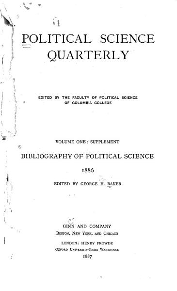 Download Bibliography of Political Science  1886 Book