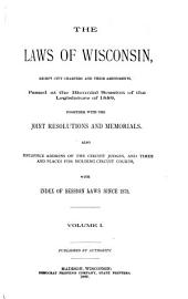 The Laws of Wisconsin: Volume 1