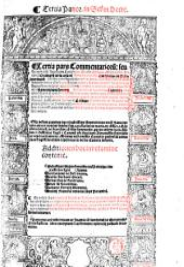 Commentaria seu Lectura in ... Decretalium librum: Tertia Panor[mitani] in S[e]c[un]d[u]m Decre[talium], Volume 3, Issue 1