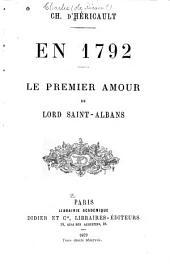 En 1792: le premier amour de Lord Saint-Albans