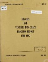 Missiles and Ventures Into Space Progress Report 1961 1962 PDF