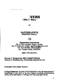 Achievers   who s Who  in Plateau State PDF