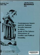 Contemporary Issues and U S  National Security Interests in Africa South of the Sahara PDF