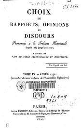 Choix de rapports, opinions et discours prononcés à la Tribune Nationale depuis 1789 jusqu'à ce jour: Année 1792 (second et dernier volume de l'Assemblée législative), Volume9