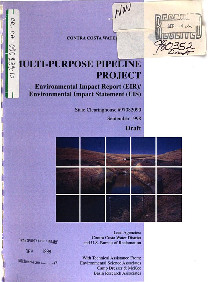 Contra Costa Water District Multi-Purpose Pipeline (MPP) Project, Contra Costa County