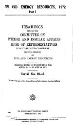 Hearings, Reports and Prints of the House Committee on Interior and Insular Affairs