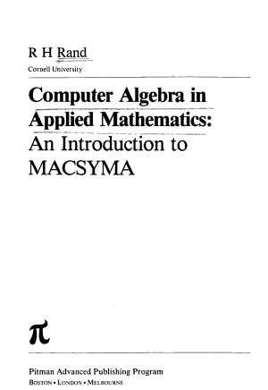 Computer Algebra in Applied Mathematics PDF