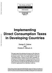 Implementing Direct Comsumption Taxes in Developing Countries