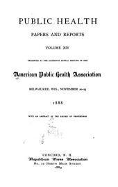 Public Health Papers and Reports: Volume 14
