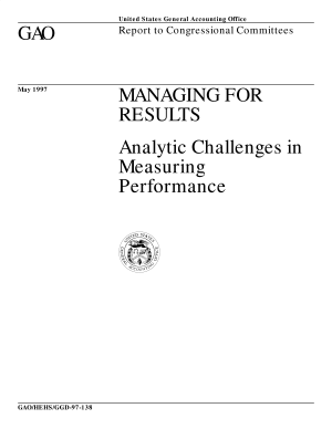 Managing for results analytic challenges in measuring performance : report to congressional committees