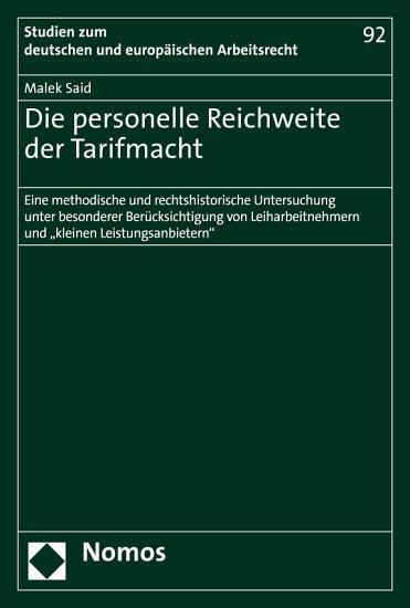 Die personelle Reichweite der Tarifmacht PDF