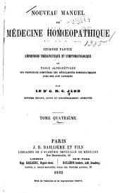 Nouveau manuel de médecine homoeopathique: Volume4