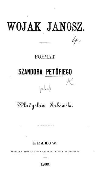 Wojak Janosz  Poemat     prze  o  y   W  Sabowski