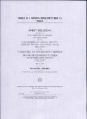 Energy as a weapon : implications for U.S. policy : joint hearing