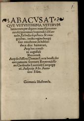 Abacus atque vetustissima veterum Latinorum per digitos manusque numerandi quinetiam loquendi consuetudo