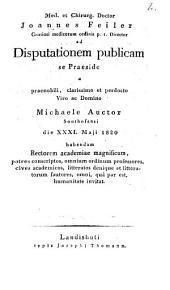 Ad disputationem publicam ... a Michaele Auctor ... habendam ... invitat