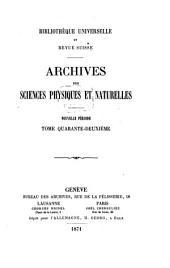 Archives des sciences physiques et naturelles: Volumes 42-43