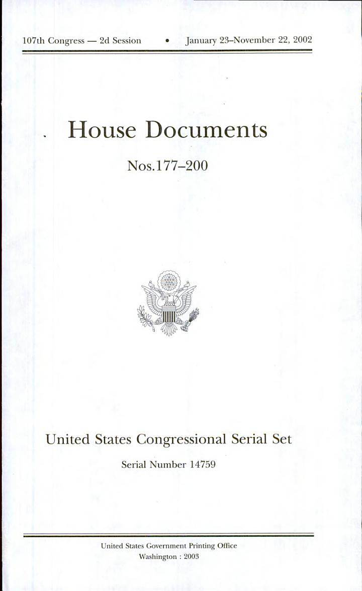 United States Congressional Serial Set, Serial No. 14759 House Documents Nos. 177-200