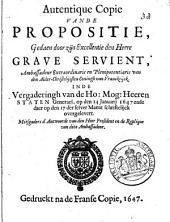 Autentique copie vande propositie, gedaen door zijn Excellentie ..