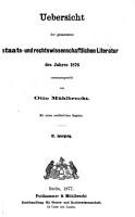 Uebersicht der gesammten staats  und rechtswissenschaftlichen Literatur  zusammengestellt von O  M  hlbrecht PDF