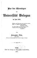 Aus den Ehrentagen der Universit  t Bologna im Juni 1888 PDF