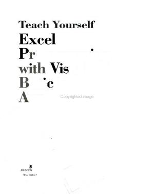 Teach Yourself Excel Programming with Visual Basic for Applications in 21 Days PDF