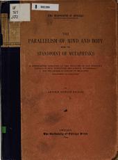 The Parallelism of Mind and Body from the Standpoint of Metaphysics: Volume 2