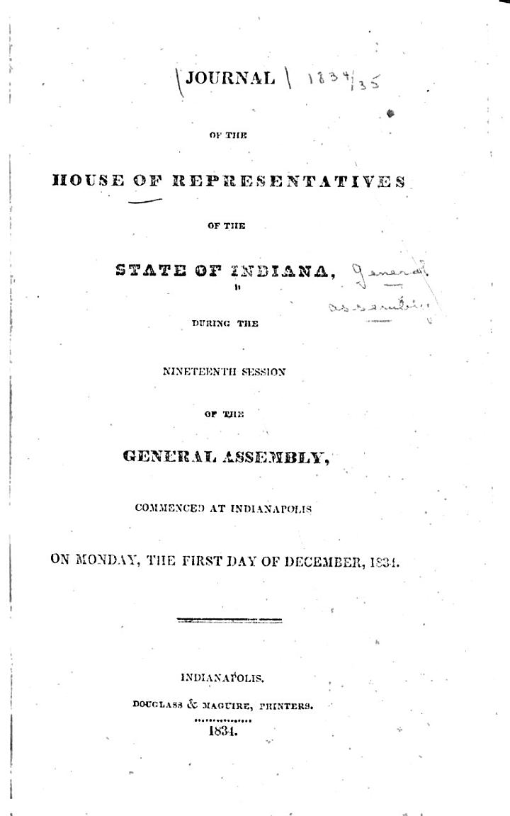 Journal of the House of Representatives of the State of Indiana ...