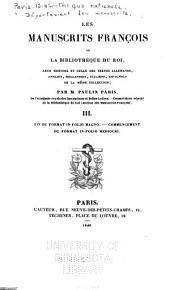 Les manuscrits françois de la Bibliothèque du roi: Volumes3à4