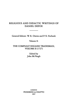 Religious and Didactic Writings of Daniel Defoe  The compleat English tradesman  volume II  1727  PDF