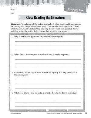 The Boy in the Striped Pajamas Close Reading and Text Dependent Questions