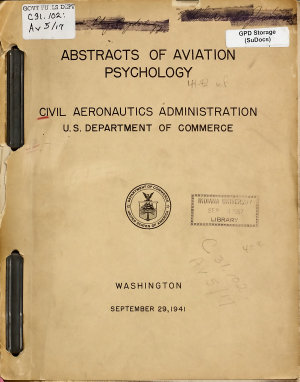 Abstracts of Aviation Psychology PDF