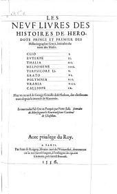 Les neuf livres des histoires de Herodote ... plus un recueil de George Gemiste dict Plethon des choses depuis la journee de Mantinee (etc.)